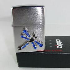 ZIPPO Feuerzeug DRAGONFLY Libelle mit hübschen Steinen Brushed Chrome NEU OVP