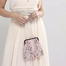 7025e14328fdec Maya Allover Sequin Embroidered Clutch Bag - Vintage rose RRP£38 {N75}