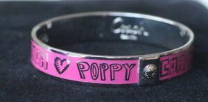 Coach LIMITED EDITION Signature Poppy Bangle Bracelet Silver Pink