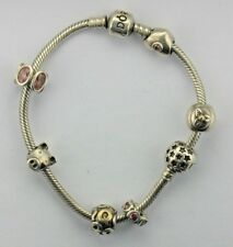 Authentic Pandora Silver PANDORA Barrel/Screw  (7) Charm Bracelet 7.75""