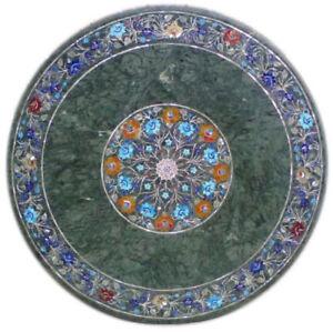 "36"" round green Marble patio / coffee sofa Table Top Inlaid handicraft art work"