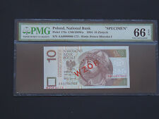 POLAND - 10 ZLOTYCH  1994 - SPECIMEN/WZOR  GEM UNC PMG  66 EPQ-VERY RARE NOTE