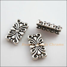 2Pcs Antiqued Silver 5-5 Hole Flower Spacer Bar Beads Connectors Charms 14x24mm