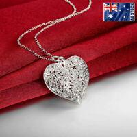 925 Sterling Silver Filled Hollow Flower Heart Locket Vintage Pendant Necklace
