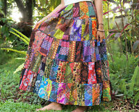 Long Patchwork Skirt * Cotton Maxi Tiered Flared Gypsy Boho * Multi Coloured