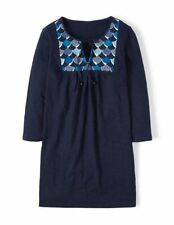 NEW Boden EMBROIDERED BIB TOP TUNIC - Navy - Size 14 UK - 10 US