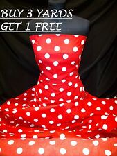 Cotton Print Red White Polka Dot Spot Dress-making Crafts Fabric Material