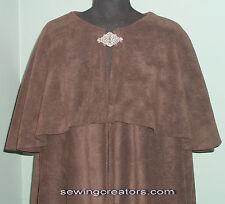 Brown Fleece Cloak w/Caplet Medieval Cape Renaissance Handmade By SewingCreators