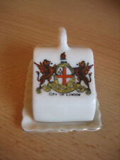 ARCADIAN CHINA MINIATURE CHEESE DISH WITH CREST FOR CITY OF LONDON