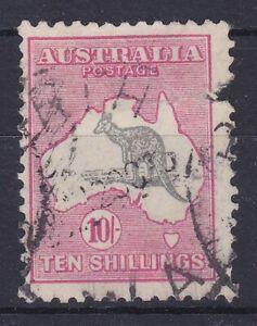K1471) Australia 1932 10/- Grey-black & rose-crimson Kangaroo C of A watermark