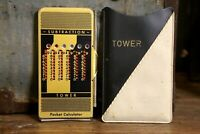 Vintage TOWER Manual Mechanical Pocket Calculator Case and Stylus Travel Size
