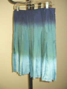 Theory Womens Blue Ombre Pleated A Line 100% Silk Skirt - Size 2