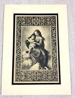1927 Antico Stampa Vergine E Bambino Cristo Gesù Italiano Art Old Master Pittura
