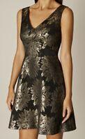 Karen Millen DZ236 Gold Floral Women's Mini Party Cocktail V-Neck Dress UK 10 38