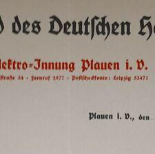 ALTE RECHNUNG PLAUEN VOGTLAND DEUTSCHEN HANDWERKS ELEKTRO INNUNG PLAUEN CA 1937