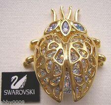 Signed Swan Swarovski Aurora Borealis Crystal Beetle Brooch Pin