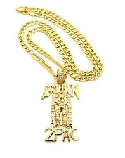 "ICED OUT DEATHROW 2PAC PENDANT WITH 30"" CUBAN CHAIN"