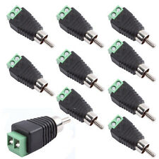 10Pcs Phono Speaker Wire cable to Audio male RCA Adapter Connector LED Jack Plug