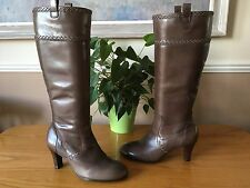 Ladies Clarks light brown leather knee length boots with zip UK 5.5 EU 38.5