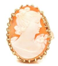 Ornate Antique Victorian Large 14K Carved Shell Cameo Portrait Ring 8gms  Sz 11