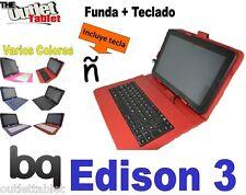 "Funda Teclado Tablet Bq Edison 3 QC 10.1"" Quad core idioma español con ñ ."