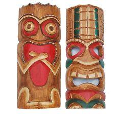 2 Piece Tiki Masks Wall Masks Wooden Wooden Masks Mask Wall Mask 30cm