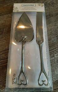 💒 DAVID TUTERA Cake Knife & Server Heart design - wedding - *used only once*