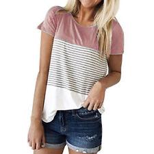 Hot Summer Womens Ladies Short Sleeve Stripe T Shirt Casual Cotton Blouse Tops Light Blue XXL