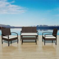 vidaXL Garden Sofa Set 7 Pieces Wicker Poly Rattan Brown Chair Furniture Table