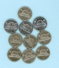 Canada 5-cent coins George VI - 10 coins various dates 1940 to 1949