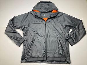 Nike Dri Fit Full Zip Active Hooded Windbreaker Jacket Men's XL Grey Black