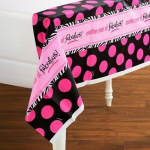 ZEBRA PRINT Birthday Pink Dots TableCover 54 x 102 Tableware Party Decorations