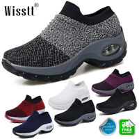 Womens Air Cushion Slip-On Breathable Sneakers Lightweight Sports Walking Shoes