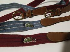 LACOSTE Stretch Belt Leather Brass Trim Striped Mens SZ 40 Vintage Alligator Lot