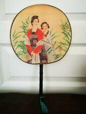 Ancien Éventail Japonais Toile Motif 2 Femmes Japonaises Bambou