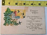 Vintage Friendly Wishes Cottage Postcard ~ Ships FREE