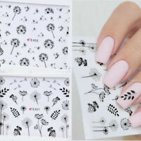 Nail Art Water Transfers Decals Sticker Black Dandelions Floral DIY Stickers