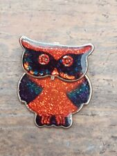Owl Brooch Titling Head - Boxed Lovely Vintage Retro Glittery Red & Green