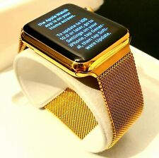 24k Gold Plated Apple Watch Series 3 Smart Watch Milanese Strap 42mm Cellular