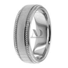 10K Pure White Gold Milgrain Designed Men's Flat Wedding Band Ring 7mm