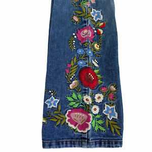 Boston Proper Jeans 30x33 Sz 6 Flared Floral Embroidered Boho Hippie Bell Bottom