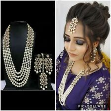Indian Bollywood Golden White Pearl DESIGNER Necklace Long Women Fashion Jewelry