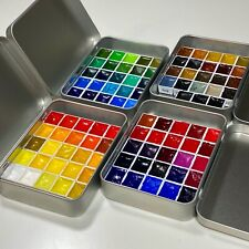 Sennelier Watercolor Paint Set. 98 Half Pan Lot in 4 Tins - Complete Color Range