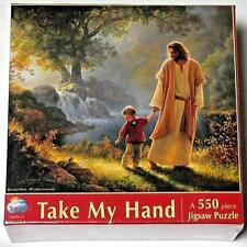 550 PIECE JIGSAW PUZZLE TAKE MY HAND JESUS NEAR MINT CONDITION 100% COMPLETE