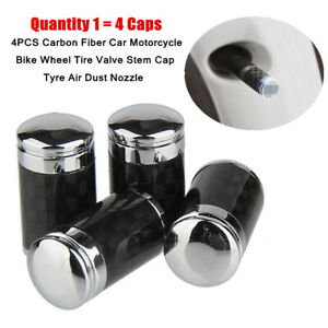 4X Carbon Fiber Motorcycle Car Wheel Tire Valve Stem Cap Tyre Air Dust Nozzle