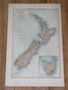 1898 ORIGINAL ANTIQUE MAP OF NEW ZEALAND / AUCKLAND WELLINGTON CHRISTCHURCH
