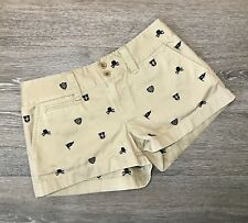 Ralph Lauren Rugby Women's Girls Embroidered Khaki Skull Nautical Shorts Sz 0