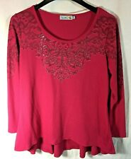Unity World Wear Womens Size XL Thermal  Embellished Red Long Sleeve Top