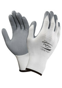 3 Pairs Ansell Hyflex 11-800 Nitrile Coated Palm Nylon Work Gloves Mechanic SALE