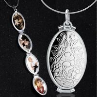 Retro Silver 4 Photo Locket Charm Oval Carved Flower Pendant Necklace Memorial